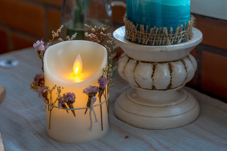 LED candle decorated in home