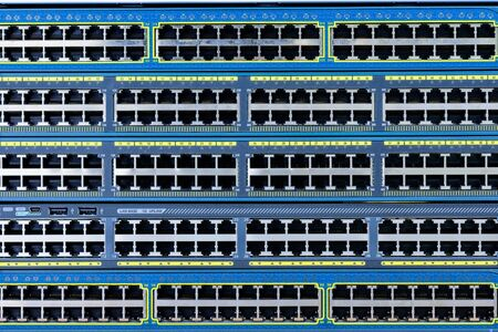cable ports of network switch front panel Stock Photo