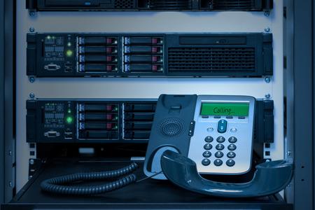 データセンタールームの VOIP 電話 (IP Phone) 写真素材
