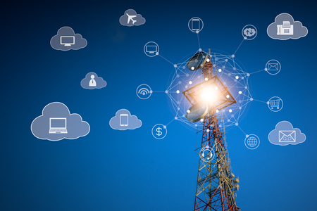 Telecommunications on cloud services, telecommunications tower with network connection and technology icon