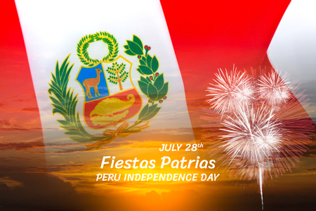 Peru independence day concept, double exposure of Peru flag on landscape sunset sky with firework and JULY 28th, Fiestas Patrias, PERU INDEPENDENCE DAY text