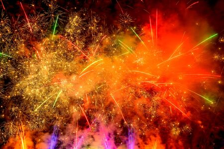 Colorful fireworks exploding on black night sky