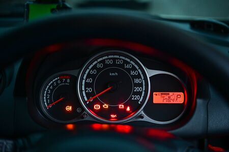Modern car front panel dashboard on parking status