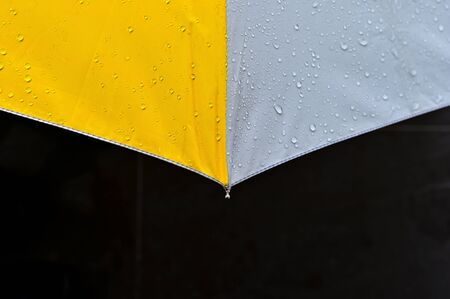 Yellow and gray umbrella with rain drop