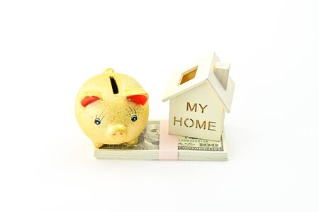 Piggy bank, dollars banknotes and home model on white background, property ladder, mortgage and real estate investment concept