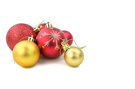 Gold and red balls for chrismas ornament on white background