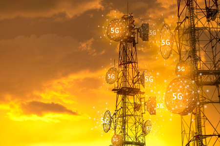 Telecommunication towers with antennas , 5G wireless technology broadcasting concept.