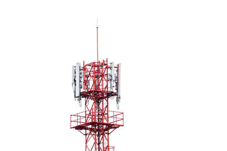Top of telecommunication tower with wireless antenna on white background
