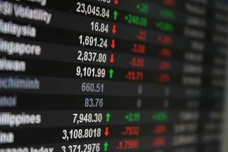 Asia Pacific Stock Exchange on board, display or monitor - selective focus Stockfoto