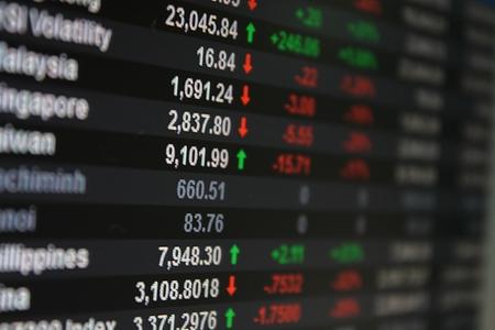 Asia Pacific Stock Exchange on board, display or monitor - selective focus Archivio Fotografico