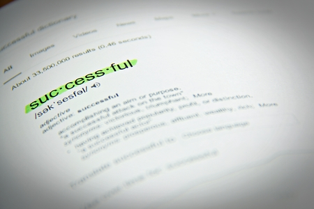 definition define: Business concept : Dictionary definition of the word successful, close up, selective focus