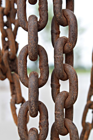 Close up of old rusty metal chain at construction site, old chain, rusty chain Stock Photo