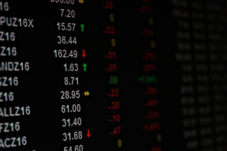 brent crude: Business or finance background : Display of single stock future market data on monitor, single stock future market chart Stock Photo