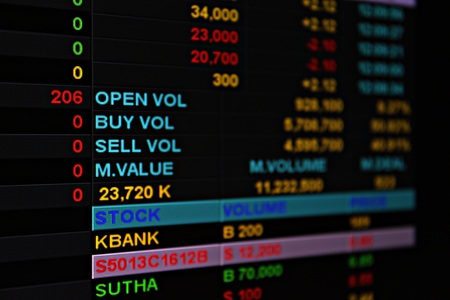 brent crude: Business or finance background : Display of stock market or stock exchange data on monitor, stock market or stock exchange chart Stock Photo