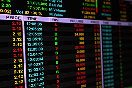 Business or finance background : Display of stock market or stock exchange data on monitor, stock market or stock exchange chart Stock Photo