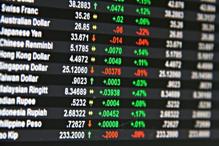 Business or finance background : Display of currency exchange rate on monitor Stock Photo
