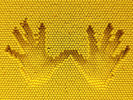 prin: Two hand print on the yellow pins toy background, playground equipment board for print hand Foto de archivo