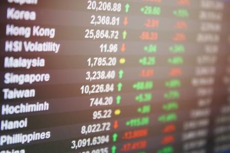 ビジネス、金融や投資の背景概念: ディスプレイのアジア パシフィック証券取引所市場データ、またはモニターでグラフ 写真素材