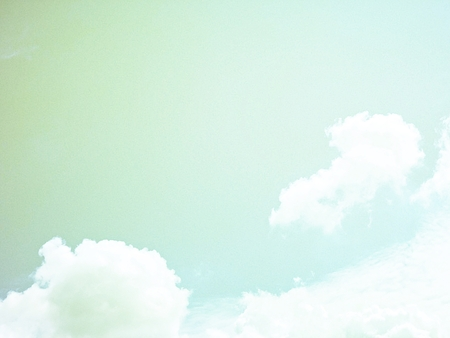 Nature or background concept : White clouds and blue sky, retro or vintage tone with copy space Archivio Fotografico