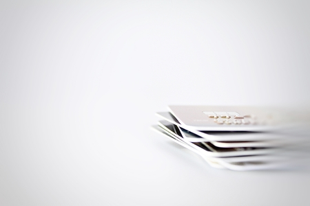 Business, finance, shopping, loans or money management concept : Credit cards close up shot with soft focus for background
