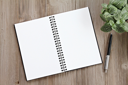 Still life, business, office supplies, planning or education concept : Top view or flat lay of open notebook with blank pages and pen on office desk table with copy space, ready for adding or mock up