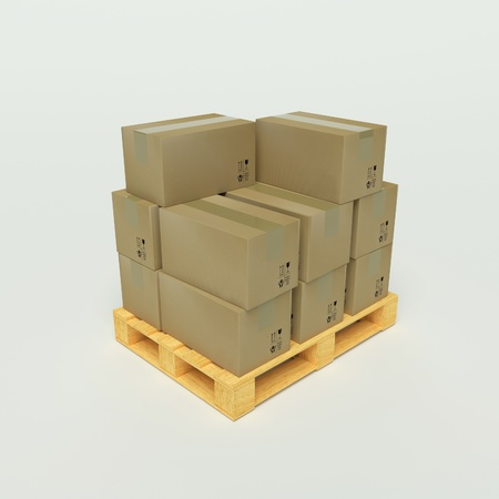 boxboard: Cardboard boxes on wooden pallets on the with background Stock Photo