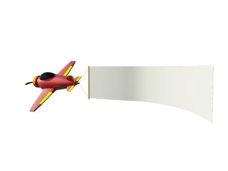 Vliegtuigen trekken advertentie banner op de witte achtergrond