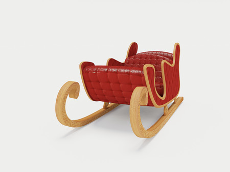 Santa sled on the white background