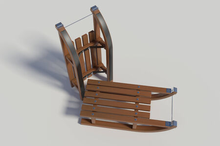 twee houten sleeën op een witte achtergrond