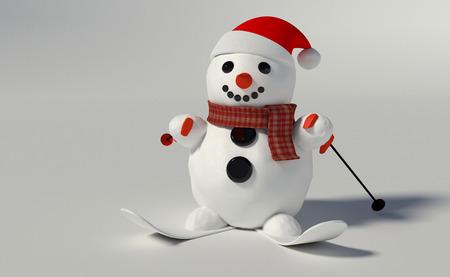 3D render van een sneeuwpop met kerstmuts en ski's en ski polen Stockfoto