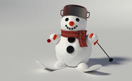 3D render van een sneeuwpop dragen pot en ski's en ski polen Stockfoto