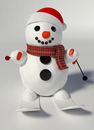 3d maken van een sneeuwpop dragen kerstmuts en ski's en skistokken