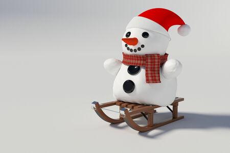 sneeuwpop zittend op sneeuw sleeën