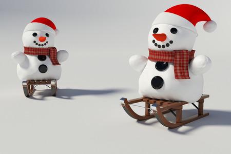 Twee sneeuwpop, en houten sleeën met hem op knutselen met achtergrond Stockfoto