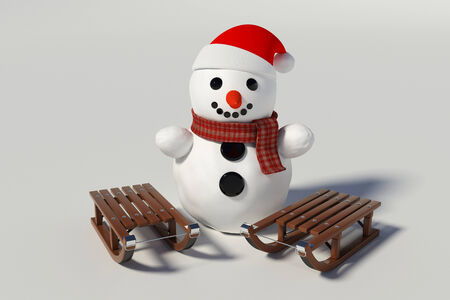 snowman and two wooden sleds with him on withe background Stock Photo
