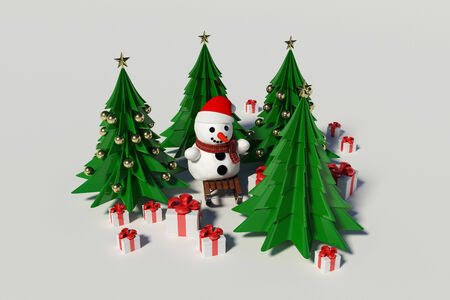 withe: Snowman and Christmas Tree on withe background