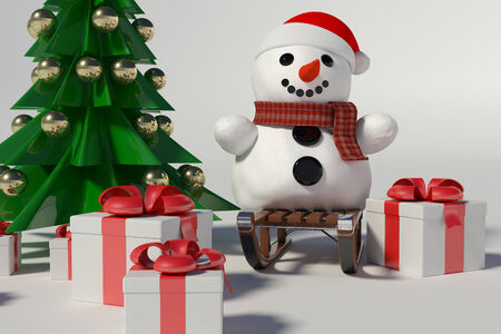 Snowman and Christmas Tree on withe background