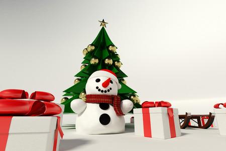 Sneeuwman en de kerstboom op knutselen met achtergrond Stockfoto