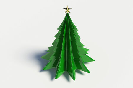 3d christmas tree on white background photo
