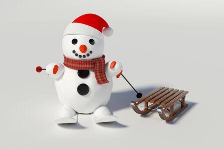 sneeuwpop, ski's en houten sleden met hem op de achtergrond