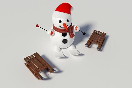 sneeuwpop, ski's en twee houten sleden met hem op de achtergrond Stockfoto
