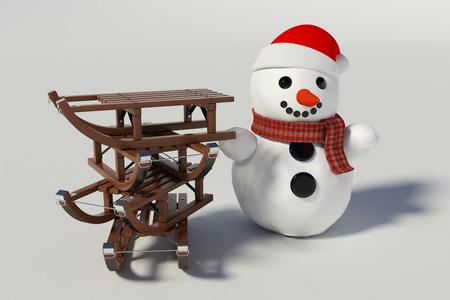 sneeuwpop, ski's en vier houten sleeën met hem op knutselen met achtergrond