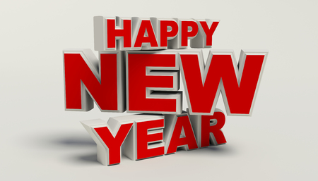 withe: Happy New Year 3d text, high resolution on withe backgground