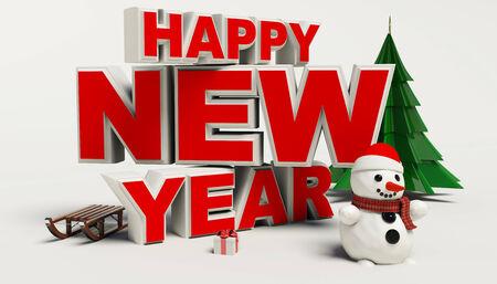 Gelukkig Nieuwjaar 3d tekst, sneeuwman, sleg, cadeau, cristmas boom, hoge resolutie