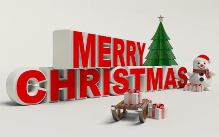 Vrolijk kerstfeest 3d tekst, sneeuwman, slage, en cadeau van hoge resolutie