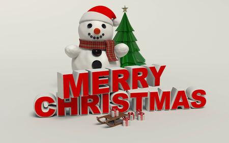 Vrolijke Kerstmis 3d tekst, sneeuwpop, slage, en cadeau hoge resolutie