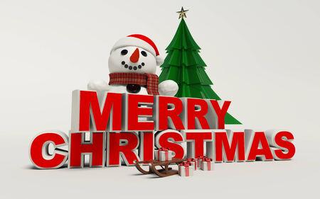 Vrolijke Kerstmis 3d tekst, sneeuwpop, slee, en cadeau hoge resolutie
