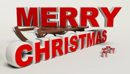 Vrolijk kerstfeest 3d tekst, slee, en cadeau hoge resolutie