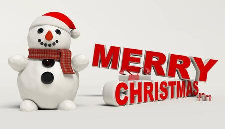 Vrolijk kerstfeest 3d tekst, sneeuwman, slee, en cadeau hoge resolutie