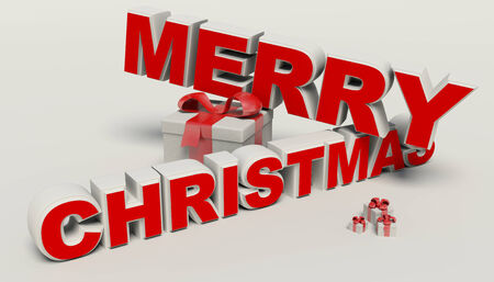 Vrolijk kerstfeest 3d tekst, gift hoge resolutie
